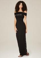 Bebe Logo Snap Slit Maxi Dress
