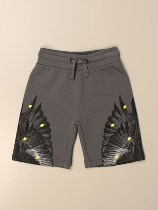 Marcelo Burlon County of Milan Cotton Jogging Shorts With Bird Feathers