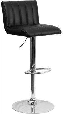 Orren Ellis Whelan Low Back Adjustable Height Swivel Bar Stool Upholstery: Black