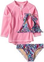 Toobydoo Funky Feathers Bikini Pink Rashguard Set Girl's Swimwear Sets