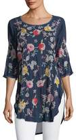 Johnny Was Playa Embroidered Georgette Tunic, Petite