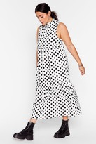 Nasty Gal Womens What's Dot into You Plus Polka Dot Midi Dress - white - 16