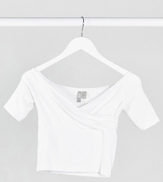 ASOS DESIGN Petite sexy off shoulder wrap front top in white