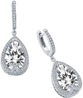 Lafonn Platinum Plated Sterling Silver Simulated Diamond Micro Pave & Teardrop Dangle Earrings