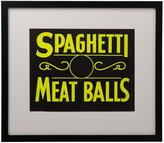 Rejuvenation Framed NOS Spaghetti and Meatballs Sign c1950s