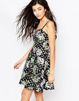 Iska Cami Skater Dress In Big Flower Polka Dot