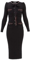 Thumbnail for your product : Self-Portrait Rib-knitted Cotton-blend Midi Dress - Black