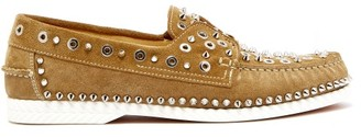 Christian Louboutin Embellished Suede Deck Shoes - Beige
