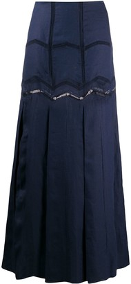Gabriela Hearst Embroidered Flared Maxi Skirt