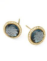 Ippolita Rock Candy 18k Gold Lollipop Diamond Stud Earrings, London Blue Topaz