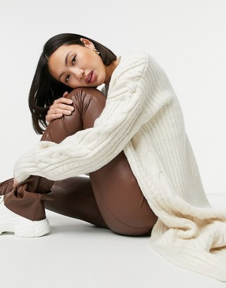 ASOS DESIGN lounge maxi cable knit cardigan in cream