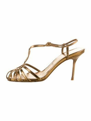 Christian Louboutin Leather Ankle Strap Sandals Gold