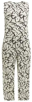 Pleats Please Issey Miyake Abstract Dash-print Pleated Jumpsuit - Womens - White Black