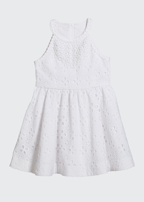 Lilly Pulitzer Girl's Little Kinley Floral Cross Eyelet Halter Dress, Size 2-14