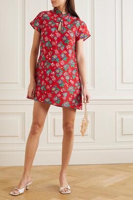 Rixo Lolita Cutout Floral-print Cotton Mini Dress - Red