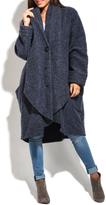 Everest Blue Wool-Blend Car Coat - Plus Too