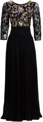 Jywal London EMBELLISHED LONG SLEEVE BLACK BRIDESMAID MAXI DRESS