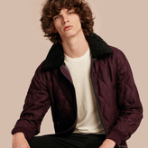 Burberry Military Quilt Wool Jacket With Shearling Collar