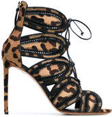 Francesco Russo ankle length sandals - women - Leather/Calf Hair - 38.5