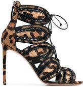 Francesco Russo ankle length sandals - women - Leather/Calf Hair - 38
