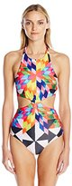 Mara Hoffman Women's Fractals Knot-Front One-Piece Swimsuit