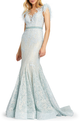 Mac Duggal Feather Embellished Cap-Sleeve Dress