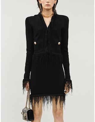 Balmain High-rise fringed-trim knitted mini skirt