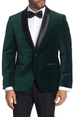 SAVILE ROW CO Emerald Shawl Collar One Button Velvet Suit Separate Sport Coat