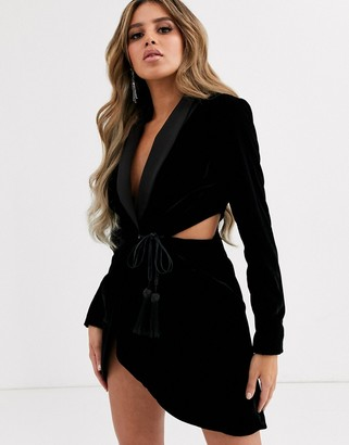 Asos Design DESIGN velvet tux mini dress with cut outs-Black