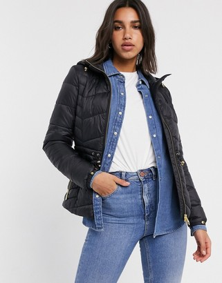 Barbour International ace quilted jacket with hood-Black