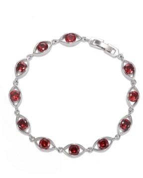 A&M A & M Silver-Tone Garnet Accent Oval Tennis Bracelet