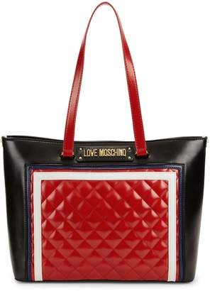 Love Moschino Quilted-Panel Tote