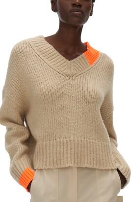 Helmut Lang Wool & Camel Hair Blend V-Neck Sweater