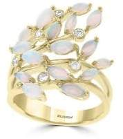 Effy Aurora 14K Yellow Gold, Diamond & Opal Vine Cluster Ring