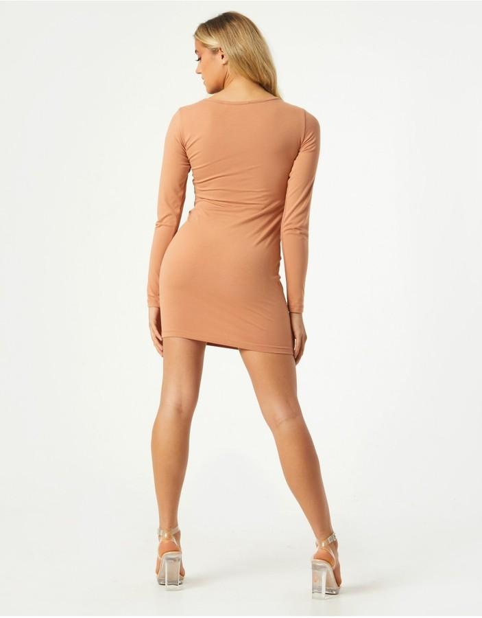 Thumbnail for your product : Little Mistress Valentin Camel Long Sleeve Bodycon Mini Dress