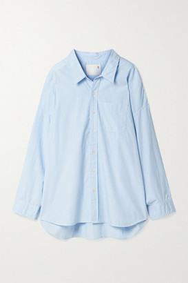 R 13 Oversized Pinstriped Cotton Oxford Shirt - Blue