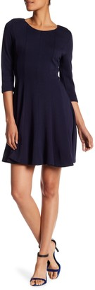 Papillon 3/4 Sleeve Fit & Flare Sweater Dress