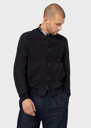 Giorgio Armani Lambskin Nubuck Leather Blouson