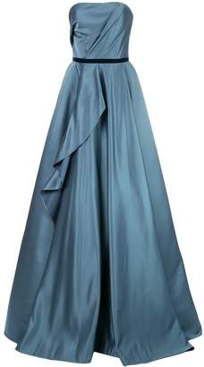 Marchesa draped flared gown