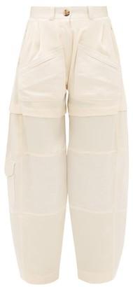 Lanvin High-rise Patch-pocket Silk Cargo Trousers - Womens - Cream
