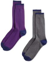 Charles Tyrwhitt Grey and Purple Cotton Rich Ribbed 2 Pack Socks Size Large