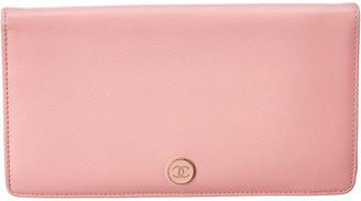 Chanel Pink Lambskin Leather Wallet