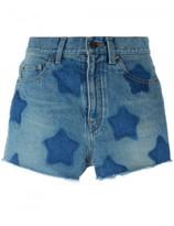 Saint Laurent stars printed denim shorts