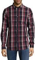 Armani Exchange Men's Macro Checkered Cotton Sportshirt