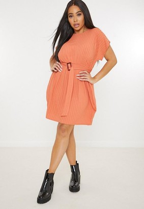 Missguided Plus Size Rust Buckle Tie Waist Dress