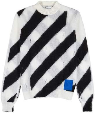 Off-White Off White White Stripe-intarsia Knitted Mohair-blend Jumper