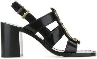 Prada Block Heel Ankle Strap Sandals