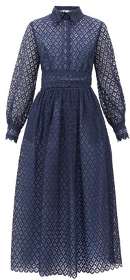 Luisa Beccaria Peter Pan Collar Lace Maxi Dress - Womens - Navy