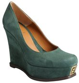 Fendi forest green suede logo platform wedge heels