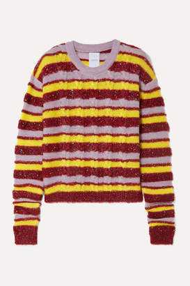 Ashish Metallic Striped Cable-knit Mohair-blend Sweater - Red